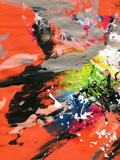 Red Abstract Painting With Expressive Brush Strokes-run4it-Art Print