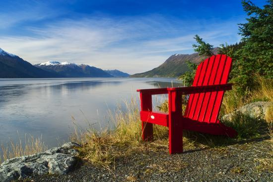 Red Adirondack Chair, Turnagain Arm, Southcentral Alaska-Design Pics Inc-Photographic Print