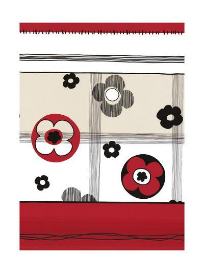 Red and Black Graphic Flowers--Art Print