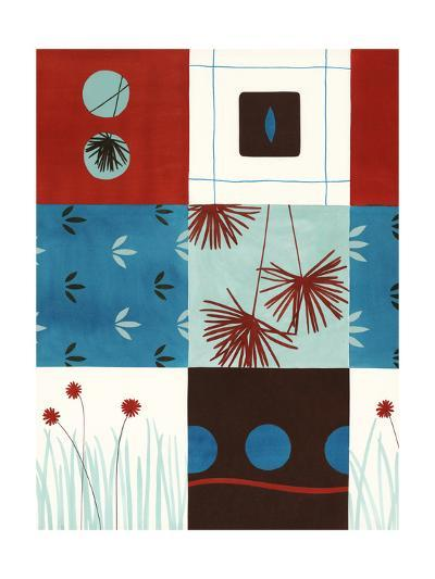 Red and Blue Floral Squares--Art Print