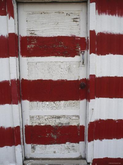 Red and White Painted Door, Arizona-Dawn Kish-Photographic Print