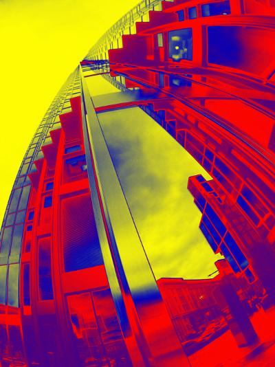 Red and Yellow View of Skyscrapers from Street--Photographic Print