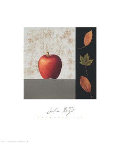 Red Apple and Leaves-John Boyd-Art Print