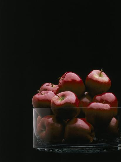 Red Apples in Glass Bowl-Howard Sokol-Photographic Print
