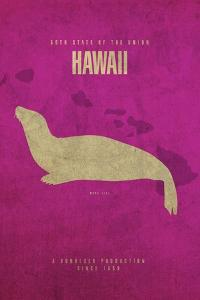 HI State Minimalist Posters by Red Atlas Designs