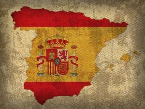Spain Country Flag Map by Red Atlas Designs