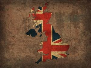 United Kingdom Country Flag Map by Red Atlas Designs