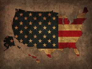Usa Country Flag Map by Red Atlas Designs