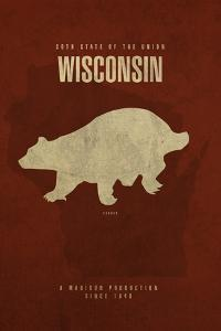 WI State Minimalist Posters by Red Atlas Designs