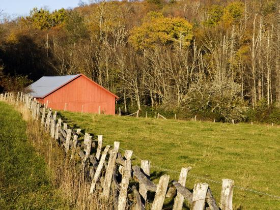 Red Barn and Fence along the Blue Ridge Parkway, Blowing Rock, North Carolina, USA-Chuck Haney-Photographic Print