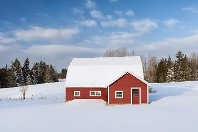 Red Barn In Snow-Michael Blanchette Photography-Photographic Print