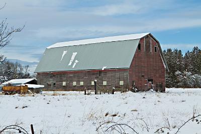 Red Barn in Winter-Dana Styber-Photographic Print