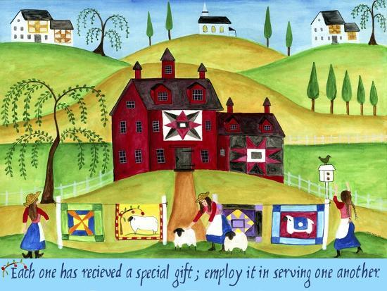 Red Barn Quilt House-Cheryl Bartley-Giclee Print