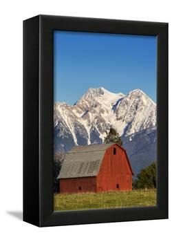 Red Barn Sits Below Mcdonald Peak in the Mission Valley, Montana, Usa-Chuck Haney-Framed Premier Image Canvas