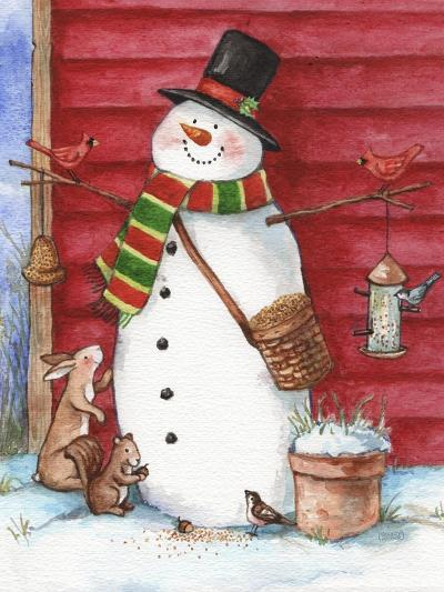 Red Barn Snowman with Friends-Melinda Hipsher-Giclee Print