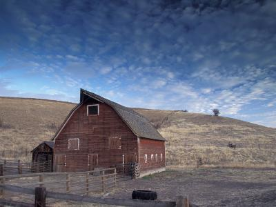 Red Barn, Wallowa County, Oregon, USA-Brent Bergherm-Photographic Print