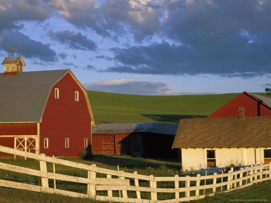 Red Barn with Fenceline in Summer, Whitman County, Washington, USA-Julie Eggers-Photographic Print