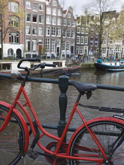 Red Bicycle by the Herengracht Canal, Amsterdam, Netherlands, Europe-Amanda Hall-Photographic Print