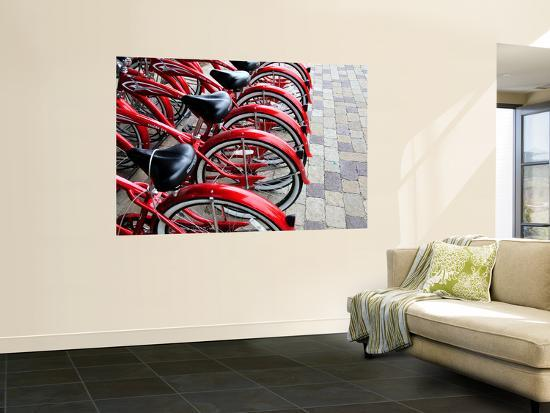 Red Bicycles for Hire-David Ryan-Wall Mural