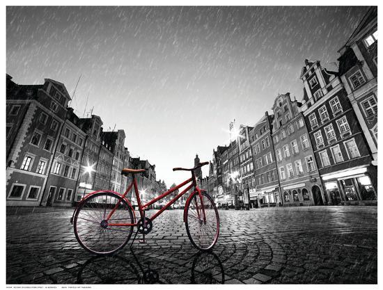 Red BikeOn Cobble Stone Street-Michal Bednarek-Art Print