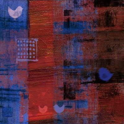 Red Bird Blue II--Art Print