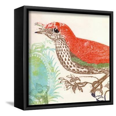 Red Bird-Swan Papel-Framed Canvas Print