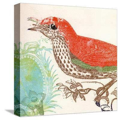 Red Bird-Swan Papel-Stretched Canvas Print