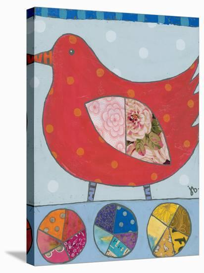 Red Bird-Julie Beyer-Stretched Canvas Print