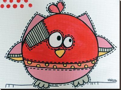 Red Birdz 1-Annie Rodrigue-Stretched Canvas Print