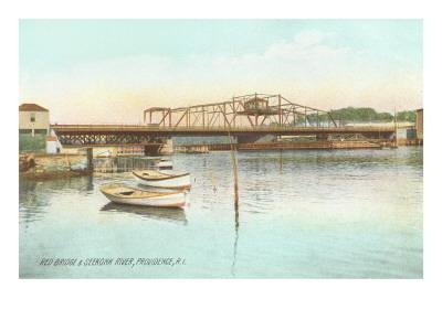 Red Bridge over Seekonk River, Providence, Rhode Island--Art Print