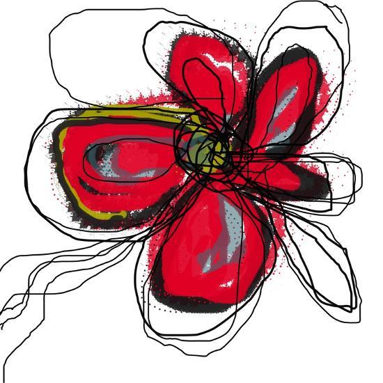 Red Butterfly Flower-Jan Weiss-Art Print