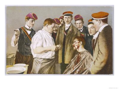 Red-Capped Heidelberg Students with Their Colleague--Giclee Print