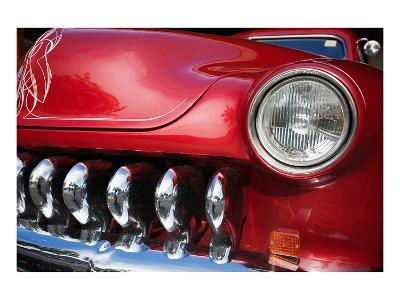 Red Car Grill and Headlight--Art Print