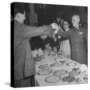 Red Chinese Leader Mao Tse Tung and Chiang Kai Shek Toasting One Another