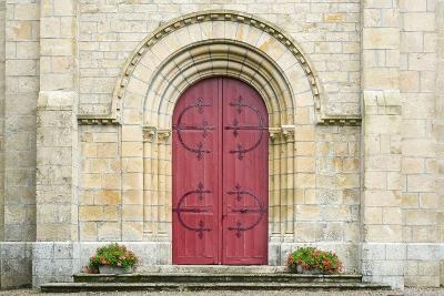 Red Church Door France-Jason Langley-Photographic Print