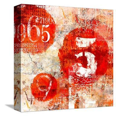 Red Collage Grunge Elements--Stretched Canvas Print