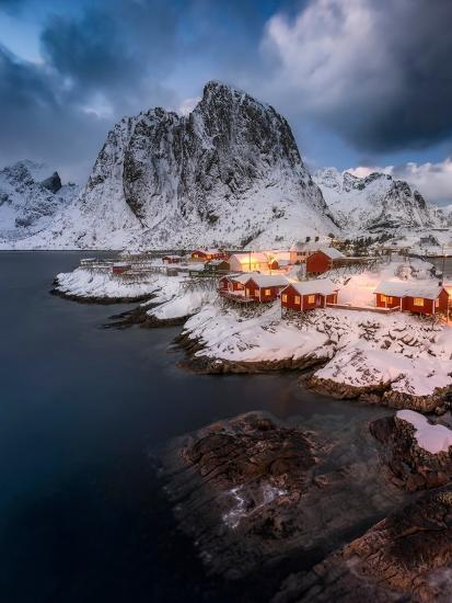 Red Cottages of Hamnoy-Hans Logren-Photographic Print