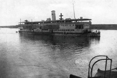 Red Cross River Boat Going Up the Tigris River, Mesopotamia, WWI, 1918--Giclee Print