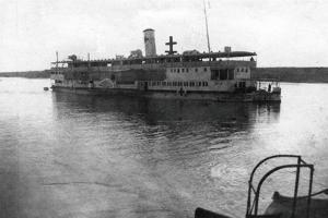Red Cross River Boat Going Up the Tigris River, Mesopotamia, WWI, 1918