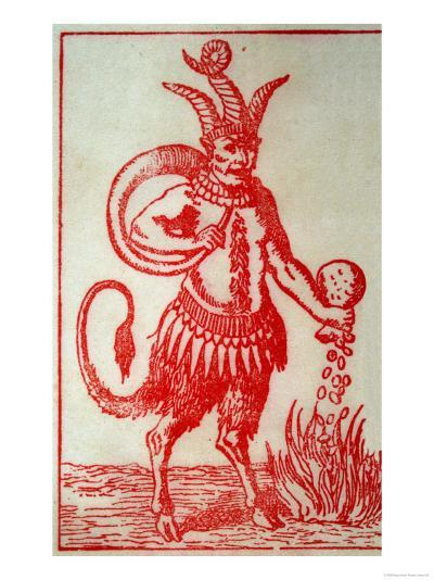 Red Devil with 3 Horns Tail and Goats Legs Pours Money into the Fire--Giclee Print