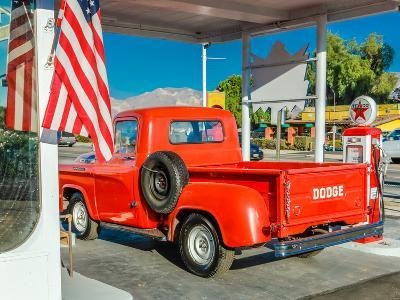 Red Dodge Pickup truck parked in front of vintage gas station in Santa Paula, California--Photographic Print