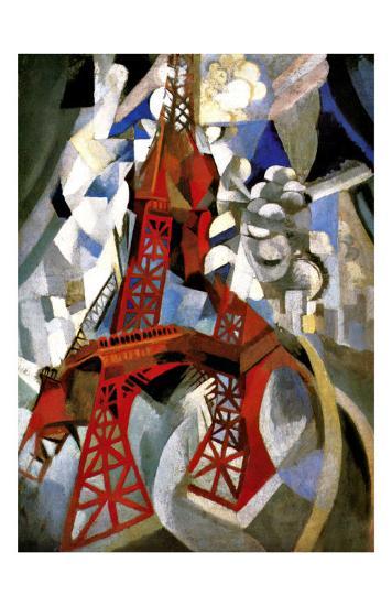 Red Eiffel Tower-Robert Delaunay-Giclee Print