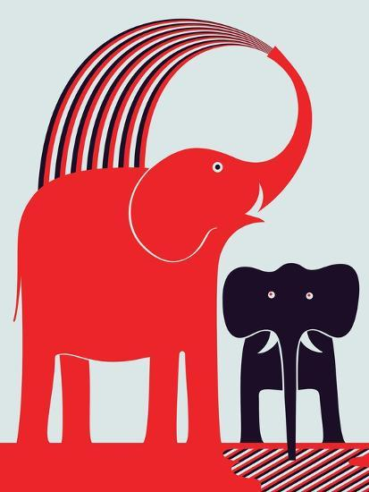 Red Elephant-Greg Mably-Giclee Print