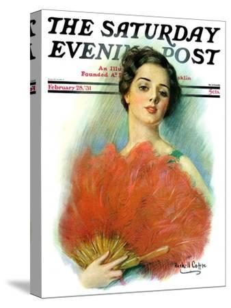 """""""Red Feathered Fan,"""" Saturday Evening Post Cover, February 28, 1931-William Haskell Coffin-Stretched Canvas Print"""