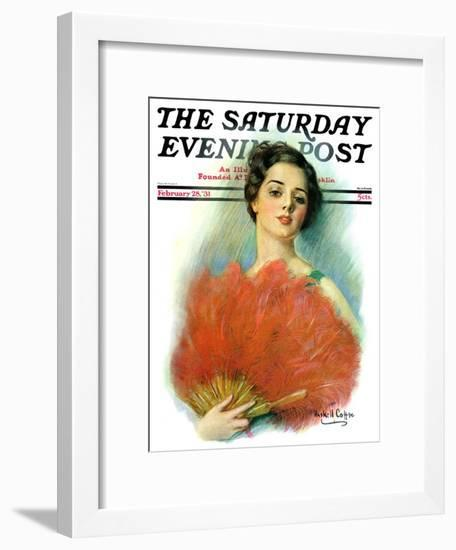 """""""Red Feathered Fan,"""" Saturday Evening Post Cover, February 28, 1931-William Haskell Coffin-Framed Giclee Print"""