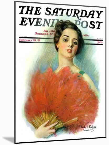 """Red Feathered Fan,"" Saturday Evening Post Cover, February 28, 1931-William Haskell Coffin-Mounted Giclee Print"