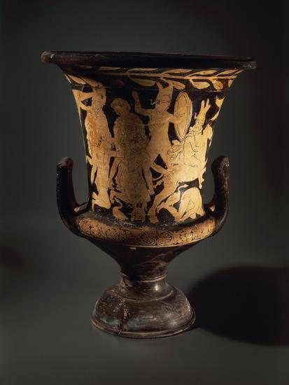 Red-Figure Pottery, Calyx Krater with Fighting Warriors, from Vulcente Workshop--Giclee Print