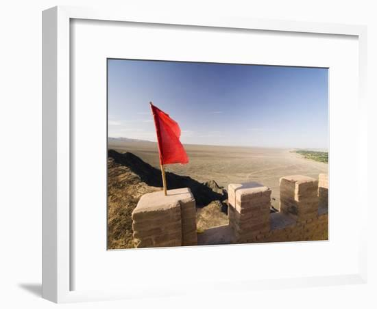 Red Flag Flying on Overhanging Great Wall, UNESCO World Heritage Site, Jiayuguan, Gansu, China-Porteous Rod-Framed Photographic Print