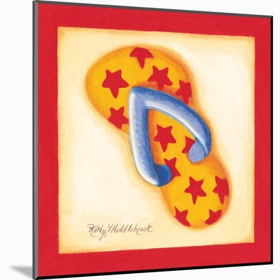 Red Flip Flop I-Kathy Middlebrook-Mounted Premium Giclee Print