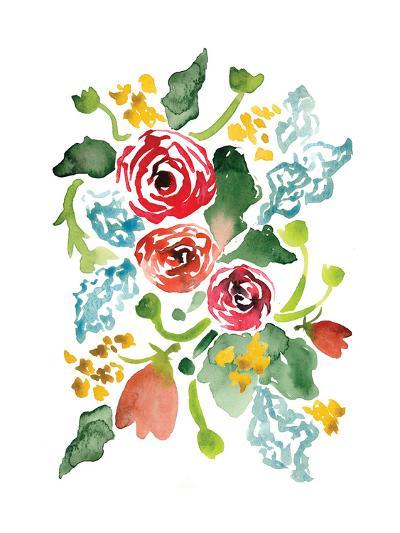 Red Floral Array I-Sara Berrenson-Art Print